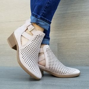 Perforated Rose Pink Spring Open Ankle Booties